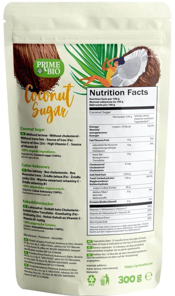 PRIMEBIO Cukier Kokosowy ekologiczny tył